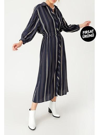 Random Kadın Çizgi Desenli Gömlek Elbise Lacivert